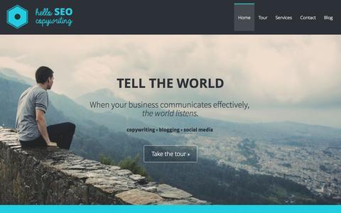 Screenshot of Home Page helloseocopywriting.com - Hello SEO Copywriting - Tell the World - captured July 16, 2015