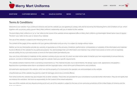 Screenshot of Terms Page merrymartuniforms.com - Terms & Conditions - Merry Mart Uniforms - captured June 10, 2017