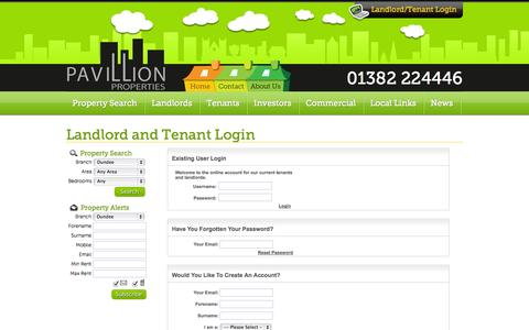 Screenshot of Login Page pavillionproperties.net - Property to rent in Dundee and Forfar - captured Sept. 30, 2014