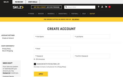 Screenshot of Signup Page sklz.com - Sports Equipment for Serious Athletes - captured Oct. 23, 2017