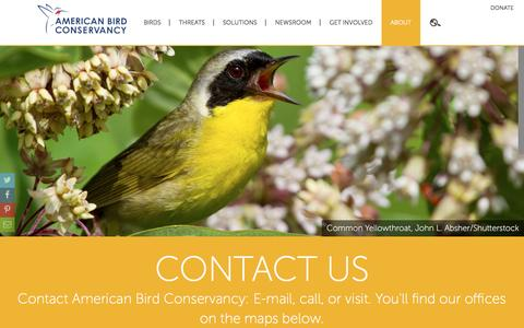 Screenshot of Contact Page abcbirds.org - Contact Us | American Bird Conservancy - captured Sept. 4, 2016