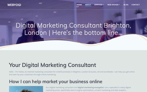 Screenshot of About Page webyogi.co.uk - Digital Marketing Consultant Brighton | Webyogi - captured March 30, 2019