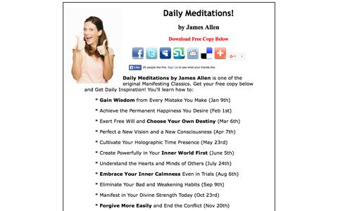 Screenshot of Home Page jamesallendailymeditations.com - James Allen Daily Meditations - Get Your Free Copy Here - captured Sept. 4, 2015