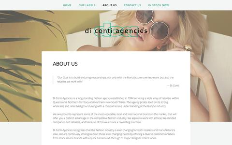 Screenshot of About Page dicontiagencies.com - About Us — Di Conti Agencies - captured Aug. 1, 2016