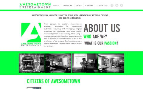 Screenshot of About Page awesometownent.ca - awesometown | ABOUT - captured Oct. 9, 2017