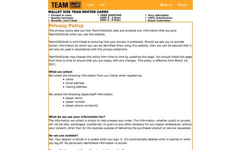 Screenshot of Privacy Page teaminfocards.com - Build team roster cards and parent contact cards at www.TeamInfoCards.com - captured July 10, 2018