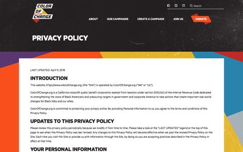 Screenshot of Privacy Page colorofchange.org - Privacy Policy – ColorOfChange.com - captured July 20, 2018