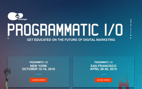 Screenshot of Home Page programmatic.io - AdExchanger's PROGRAMMATIC I/O - captured Sept. 23, 2018
