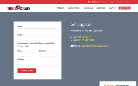 Screenshot of Support Page shieldsquare.com - Anti Scraping Solution Support | ShieldSquare - captured Nov. 18, 2015