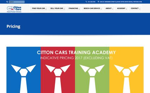 Screenshot of Pricing Page cittoncars.co.za - Pricing - Citton Cars - captured May 10, 2017