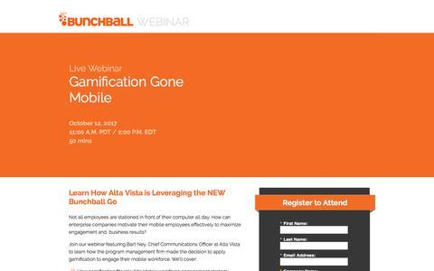 Screenshot of Landing Page bunchball.com - Gamification Gone Mobile - captured Dec. 5, 2017
