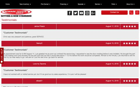 Screenshot of Testimonials Page newarktoyotaworld.com - Customer Reviews, Testimonials - Newark Toyota World - captured Oct. 22, 2018