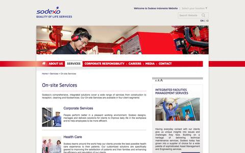 Screenshot of Services Page sodexo.com - Sodexo On-site Services - captured July 8, 2019