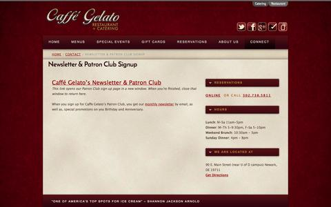 Screenshot of Signup Page caffegelato.net - Newsletter & Patron Club Signup | Caffé Gelato - captured Oct. 1, 2014