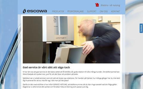 Screenshot of Support Page escowa.se - escowa.se   Vattenautomat på kontoret - Kolsyrat vatten på jobbet - captured Oct. 2, 2014