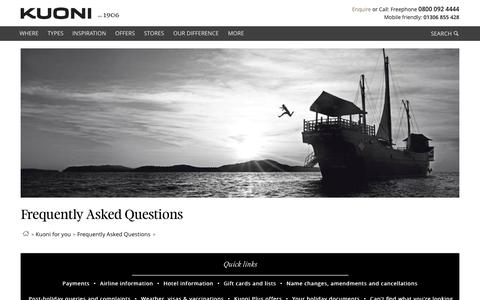 Screenshot of FAQ Page kuoni.co.uk - Frequently Asked Questions - Kuoni Travel - captured Oct. 2, 2015