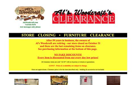 Screenshot of Home Page alswoodcraft.com - Furniture Store Closing • Clearance Sale • Al's Woodcraft - captured Oct. 3, 2018