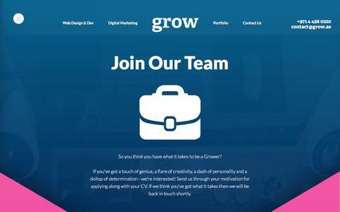 Screenshot of Jobs Page grow.ae - Careers at Grow Dubai - captured Feb. 2, 2016