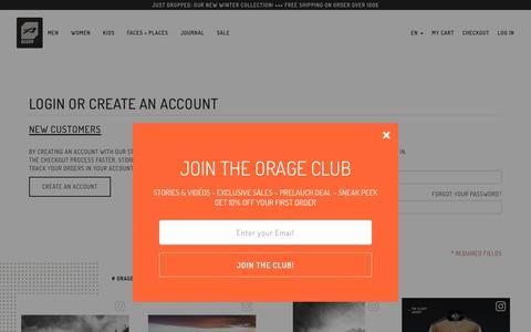 Screenshot of Login Page orage.com - Customer Login - Orage - captured Oct. 20, 2018
