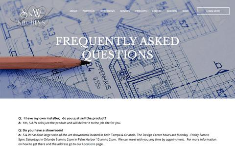 Screenshot of FAQ Page sandwkitchens.com - Frequently Asked Questions about kitchen and bath remodeling - captured Oct. 1, 2018