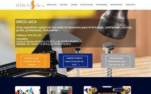 Screenshot of Home Page bricojaca.com - BRICO JACA bricolaje, calefacción, cocina, jardín, profesional - captured June 4, 2016