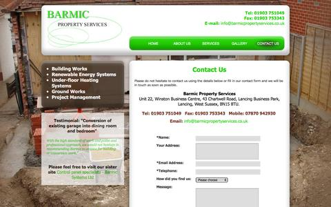 Screenshot of Contact Page barmicpropertyservices.co.uk - Contact Lancing based property services company that promises a first class service and an excellent standard of work. Barmic Property Services - captured March 3, 2016