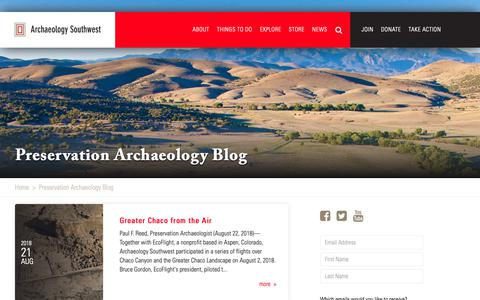 Screenshot of Blog archaeologysouthwest.org - Preservation Archaeology Blog | Archaeology Southwest - captured Sept. 27, 2018