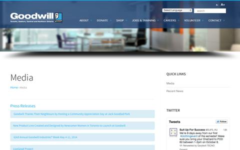 Screenshot of Press Page goodwill.on.ca - Media - Goodwill Industries of TorontoGoodwill Industries of Toronto - captured Oct. 1, 2014