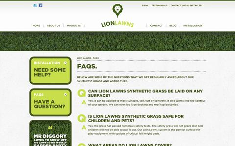 Screenshot of FAQ Page lionlawns.co.uk - FAQs - Lion Lawns - captured Oct. 1, 2014