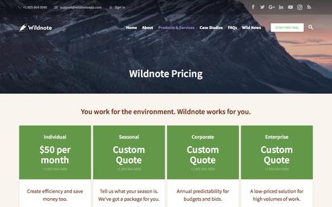 Screenshot of Pricing Page wildnoteapp.com - Pricing - Wildnote - captured July 8, 2018