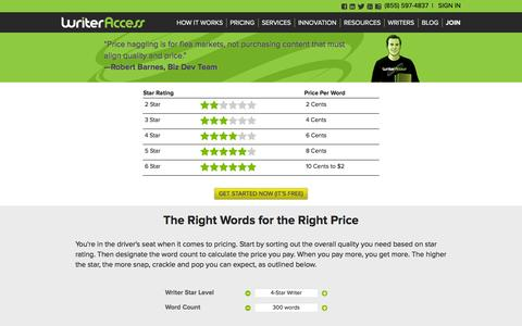 Screenshot of Pricing Page writeraccess.com - Freelance Writing Rates - Content Marketplace - WriterAccess - captured Oct. 10, 2014