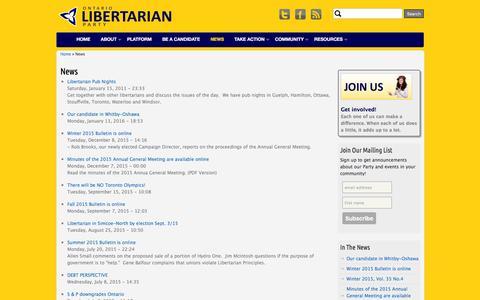 Screenshot of Press Page libertarian.on.ca - News   Ontario Libertarian Party - captured Feb. 14, 2016