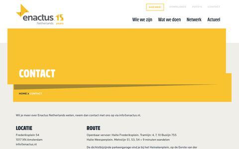 Screenshot of Contact Page enactus.nl - Contact – Enactus Nederland - captured Oct. 1, 2018