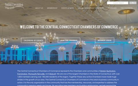 Screenshot of Home Page centralctchambers.org - CENTRAL CT CHAMBERS OF COMMERCE - Central CT Chamber of Commerce | Bristol, CT 06010 - captured Sept. 27, 2018