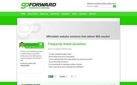 Screenshot of FAQ Page goforward.co.nz - go FORWARD | Website Design, Website Development, New Plymouth, Taranaki - captured Sept. 30, 2014