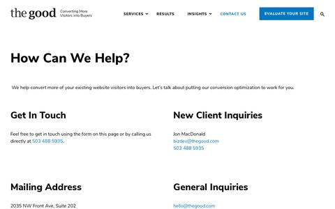 Screenshot of Contact Page thegood.com - Contact Us - We'd Love To Hear From You - The Good - captured May 15, 2019