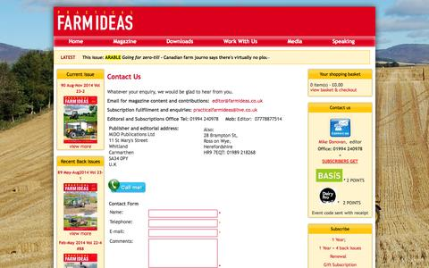 Screenshot of Contact Page farmideas.co.uk - Contact Us - Practical Farm Ideas - captured Oct. 2, 2014