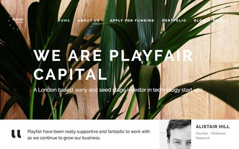 Screenshot of Home Page playfaircapital.com - Playfair Capital - captured Sept. 19, 2014