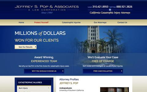 Screenshot of About Page poplawyer.com - Our Attorneys | Jeffrey S. Pop & Associates - captured Nov. 2, 2014