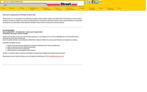 Screenshot of Jobs Page streetcrane.co.uk - Electric Chain Hoists, Electric Wire Rope Hoists, Lifting Hoists, Crane Systems ñ Street Crane, UK - captured Oct. 7, 2014