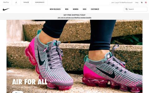 Screenshot of Home Page nike.com - Nike. Just Do It. Nike.com - captured April 23, 2019
