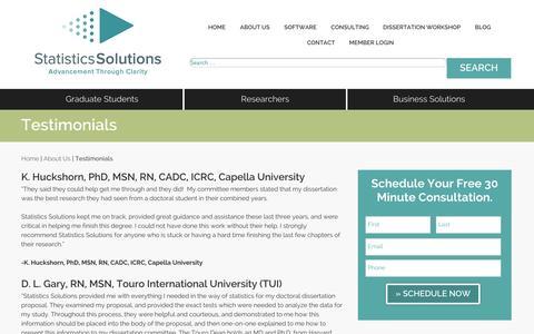 Screenshot of Testimonials Page statisticssolutions.com - Testimonials | Statistics Solutions - captured Oct. 9, 2014