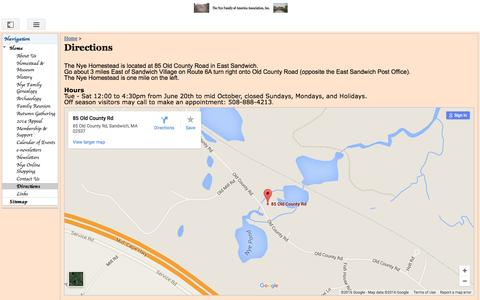 Screenshot of Maps & Directions Page google.com - Directions - Nye Family of America - captured June 23, 2016