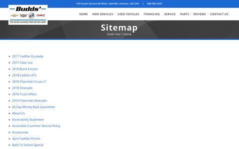 Screenshot of Site Map Page buddschev.com - Sitemap - Budds' Chev - captured Oct. 7, 2018