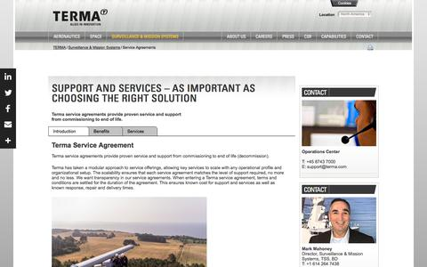 Screenshot of Services Page terma.com - Service Agreements - captured July 15, 2019