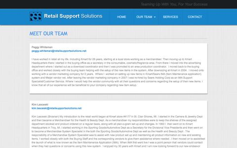 Screenshot of Team Page retailsupportsolutions.net - MEET OUR TEAM | Retail Support Solutions - captured Sept. 26, 2014