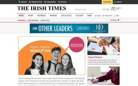 Screenshot of Signup Page irishtimes.com - Student Hub | The Irish Times - captured Sept. 21, 2018