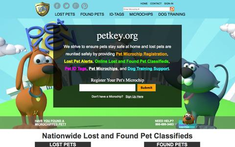 Screenshot of Home Page petkey.org - Pet Microchip Registration and Dog Training | petkey ™ - captured Sept. 23, 2014