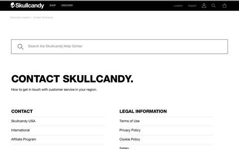 Screenshot of Contact Page skullcandy.com - Skullcandy Support - captured Nov. 8, 2018