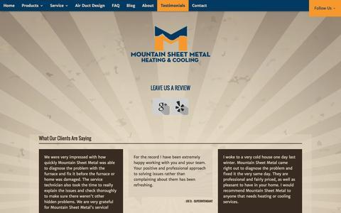 Screenshot of Testimonials Page mountainsheetmetal.com - Testimonials | Mountain Sheet Metal - captured Feb. 24, 2016